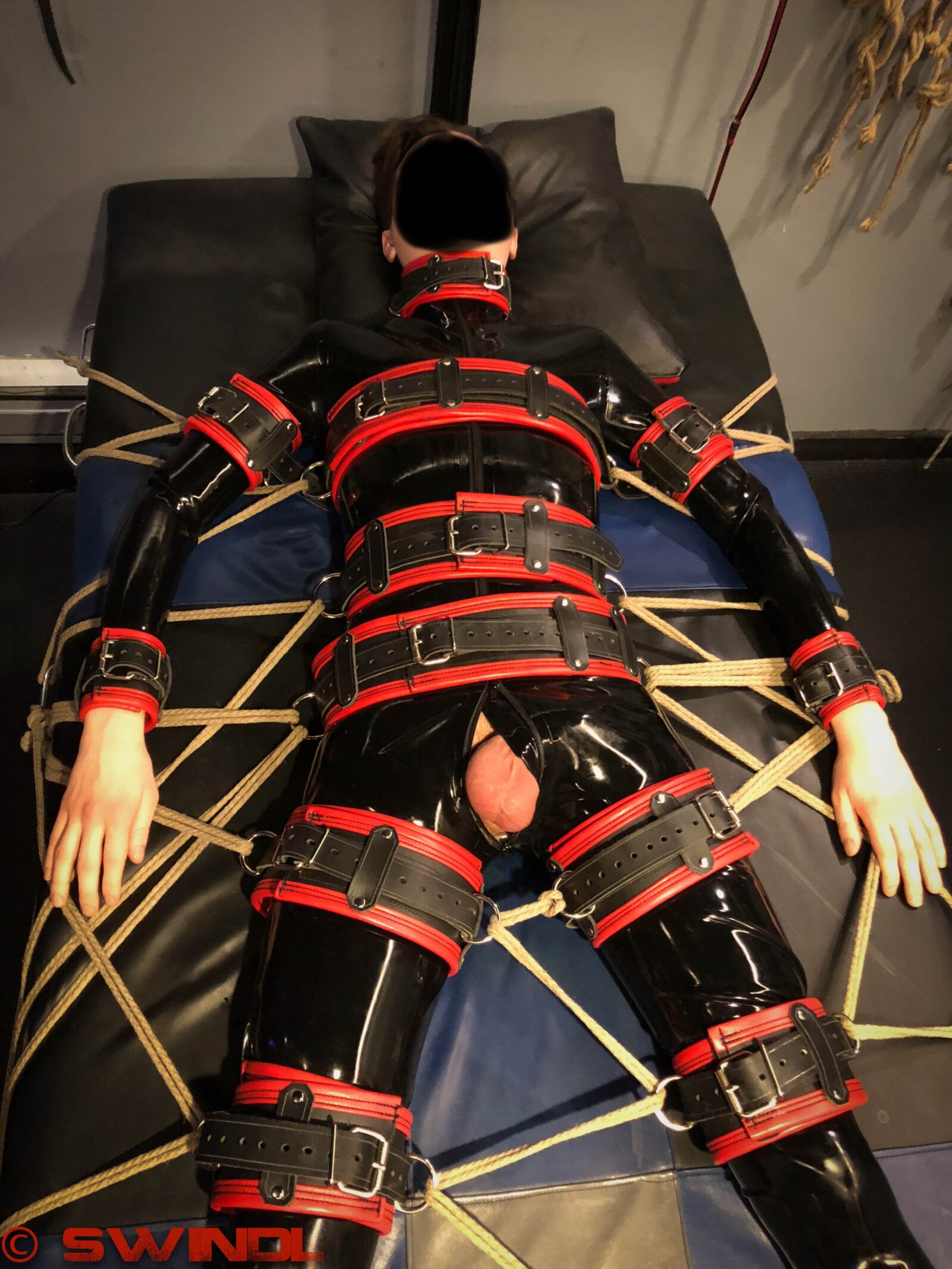 Latex Leather Restrained Boy